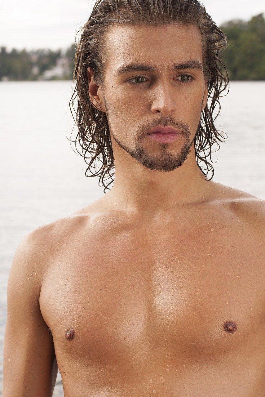 fine-looking, shirtless, brawny